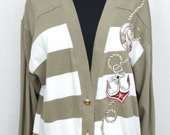 Vintage Cardigan By Stephanie (by Suzelle) in Brown & White Striped Size L Button Down - 1990s - Very Good Condition - Free Postage