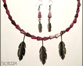 Purple Beads with Silver Leaves Jewelry Set