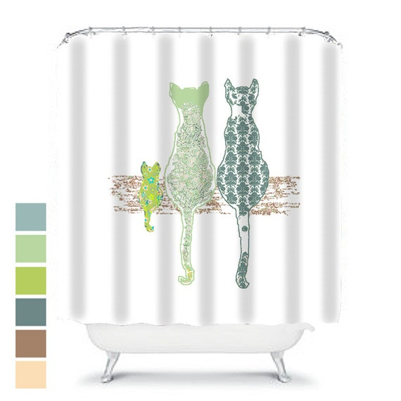 Cat Decor Cat Shower Curtain Cats Shabby Chic Bathroom