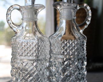 Vintage Clear Glass Oil and Vinegar Set