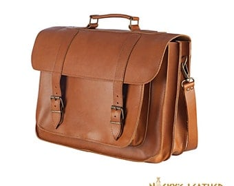 LEATHER LAPTOP BAG  - Leather Messenger Bag in Tobacco color 100% Full Grain Leather