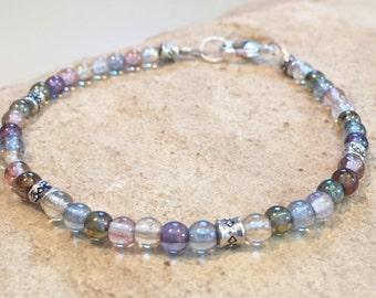 Multicolored bead bracelet, translucent glass bead bracelet, silver bracelet, boho style bracelet dainty bracelet fall bracelet gift for her
