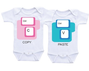Copy and Paste Twin Onesies Ctrl+C and Ctrl+V Funny Twins Bodysuits Twin baby gifts Twin Outfits,Twin Matching Outfit,Twin Baby shower gifts