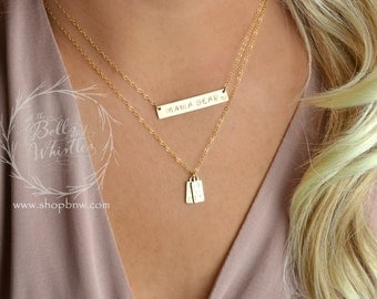 Mama Bear Necklace, Personalized Bar Necklace, Gold Bar Necklace, mom gift, anniversary gift, birthday gift