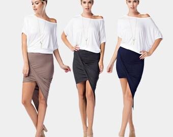 S572 Asymmetrical Wrap Fold Drape Elastic Waistband Mini Skirt (Made in USA)