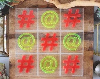 Over-sized Coffee Table Tic Tac Toe - Fluorescent Acrylic - Hashtags & At-mark Tic Tac Toe