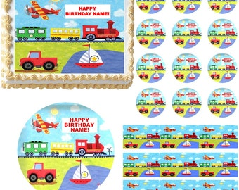 On The Go Transportation Edible Cake Topper Image, on the go train, on the go plane, On The Go Transportation Cupcakes, First Birthday Cake