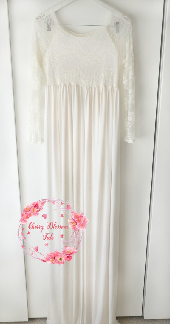 rts cream jersey and lace maternity dress with long sleeves maternity
