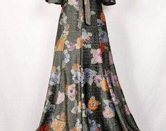 STUNNING Vintage 1970's handmade dress and cape, floor length dress, sparkling, evening gown & cape: UK 8-10