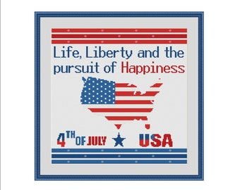 Patriotic cross stitch, Independence day, 4th of july, Fourth of july, American flag, USA map, Life Liberty and Pursuit of Happiness, PDF