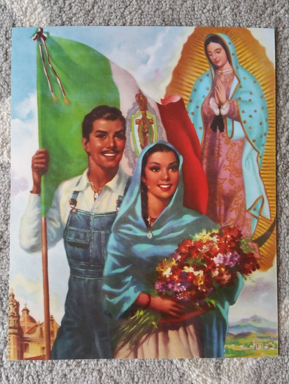 Art Calendar La : Items similar to vintage mexican calendar art virgen de