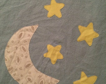 Moon and Stars Applique Flannel Reversible Baby Blanket