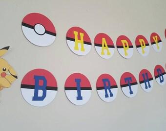 Pokemon Birthday Banner / Sign / Garland / Happy Birthday Banner / Pikachu / Pokemon Inspired Birthday Banner / Pokemon Party / Decorations