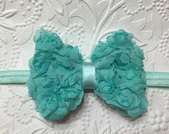Aqua Shabby Rose Flower Bow on Aqua Elastic Headband (HB-19), Shabby Rose Headband, Aqua Headband, Baby Headband, Girls Headband