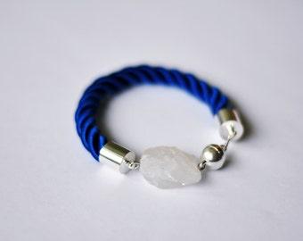 Rock crystal quartz rope bracelet