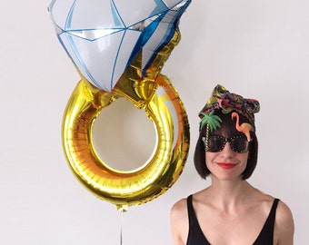 "Diamond Engagement Ring Foil Helium Balloon - 30"" Gold Hen Party Engagement Bachelorette Wedding Decoration."