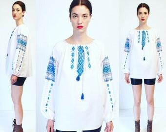 Vtg 60s Hand Embroidered White Shirt Top Folk Ethnic Boho Peasant Blouse