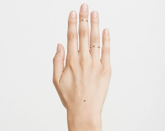 Modern, Simple Band Ring • Plain, Stacking Ring • Narrow Stackable Band Ring • Custom Handmade 14k Gold or Silver Ring by GLDN • Rhone Ring