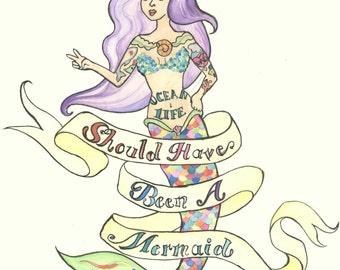 Shoulda, Woulda, Coulda - 8 x 10 Watercolor Mermaid Painting