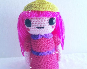 FREE SHIPPING!!! amigurimi, kawaii,adventure time, princessbubblegum,kawiigirl,crochetart,cartoonnetwork,anime,animegirl ,pink