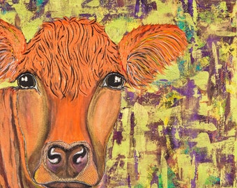 cow art, cow painting, Salers,  original cow painting, original
