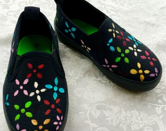 Colourful Hand Painted kids' Slip Ons