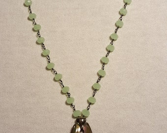 Silver & Beaded Chain with Antique Pendant