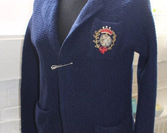 Vintage Blue Cardigan with pearl badge 100% Virgin Wool Fashioned by Rosanna / Schoolgirl blazer vintage/Schoolgirl vest/Blue blazer Vintage