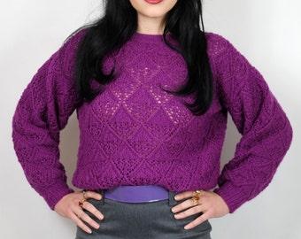 Vintage purple cropped knit jumper S M