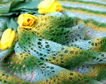 Lamb wool hand knitted lace shawl Warm large shawl green and yellow lace triangular Winter shawl Spring colors womens shawl wrap mom gift