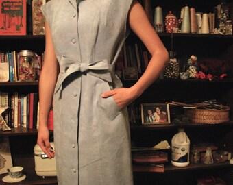 Vintage Light Blue Suede Dress