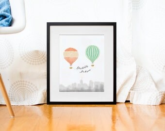 Custom baby poster - Custom nursery print - Baby nursery decor - Baby wall decor - Nursery wall art - Hot air balloon print