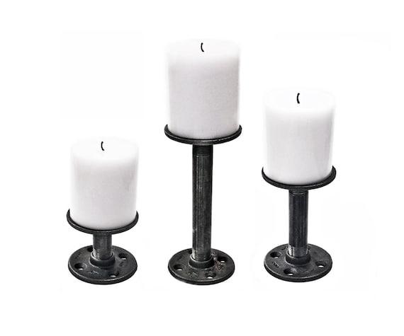 Metal Pillar Candle Holders : Pillar candle holder set stand of iron