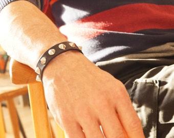 Studded Leather Bracelet in Black,  Studded Black Leather Wristband, Black Studded Cuff, Black Spartacus Bracelet