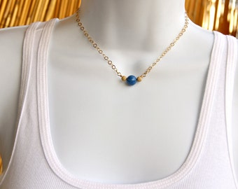 Lapis Gold Necklace, Lapis bead necklace, bead necklace, Royal blue Lapis necklace