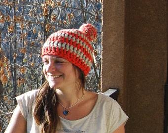 Hat wool lined - woman / ado - orange and beige
