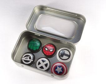 Marvel Comic Hero Fridge Magnets in Gift Tin. 6 x 25mm magnets