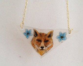 Fox and Blue wildflowers Necklace