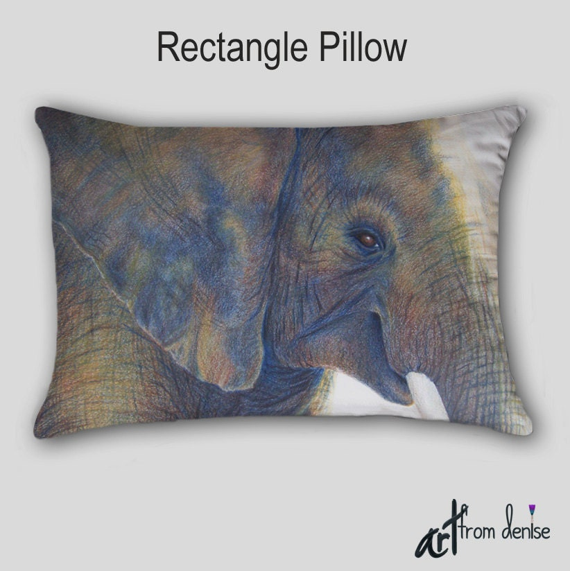 Elephant Pillow Animal art Accent Neutral decor Cover Case