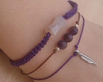 Set of three bracelets with agates and feathers in purple / Set bracelets / set amulet / bracelets bracelets lucky