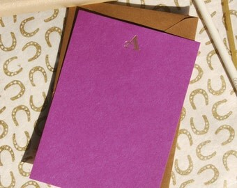 Gold Foil Letter Initial Stationary; Set of Four Cards
