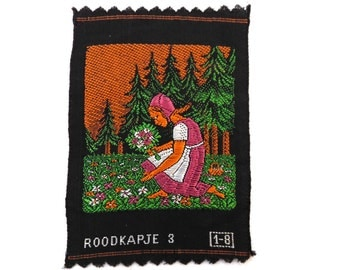Little Red Riding Hood, Applique, 1930s Antique Embroidered applique, application, patch. Vintage patch, sewing supply. #649G14DK15