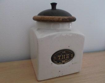 pot ceramic tea - jar beige kitchen with wooden and iron cover - retro kitchen storage