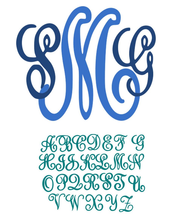 Fancy curls monogram alphabet font svg studio dxf eps