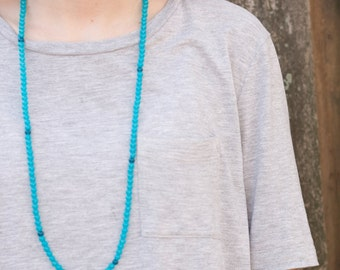 Long Beaded Necklace- Blue