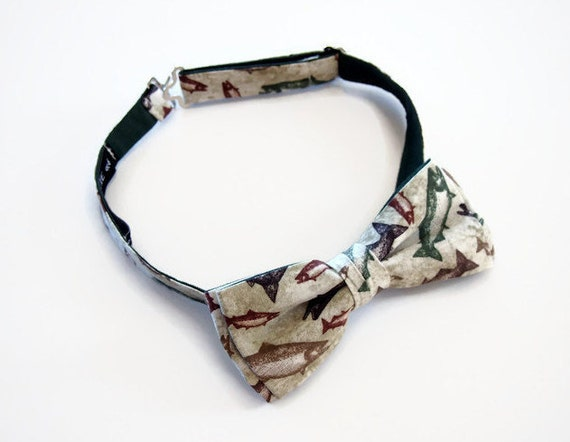 Fish bow tie fishing bow tie fisherman bow tie men or for Fish bow tie