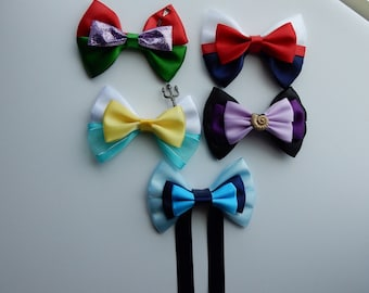 The Little Mermaid Bows, Ariel, Prince Eric, King Triton and Ariel Kiss the girl Bow