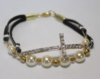 Gold Crystal Sideways Cross with Pears and Gold Beads Leather Bracelet
