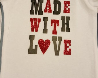 Made With Love Baby Onesie- Cute for Valentine's Day