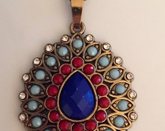 Pendant Necklace, Blue Pendant Necklace, Oval Pendant